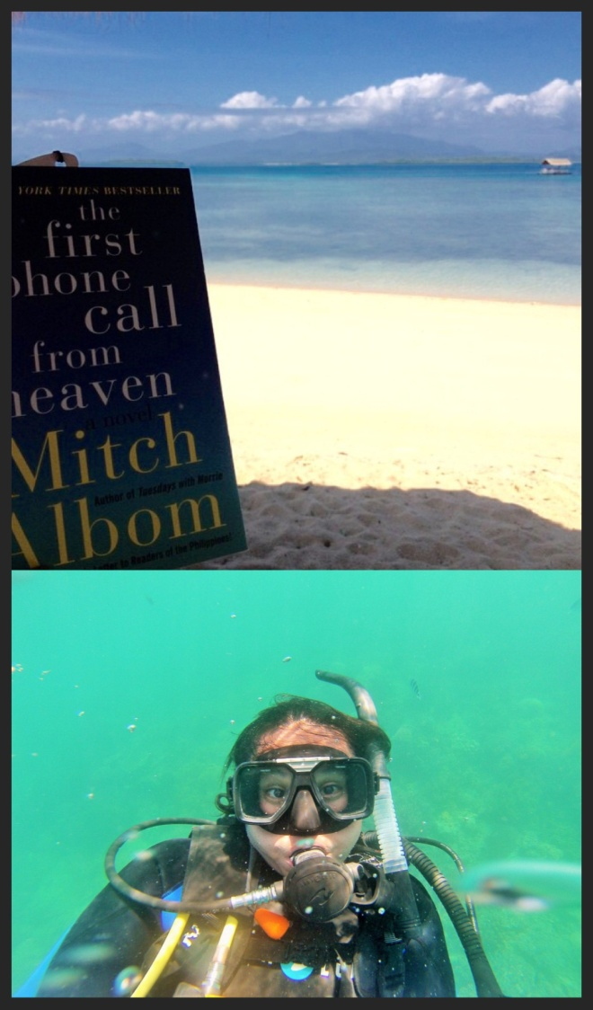 I read my book at the beach in Palawan, Philippines while Andrew was scuba diving