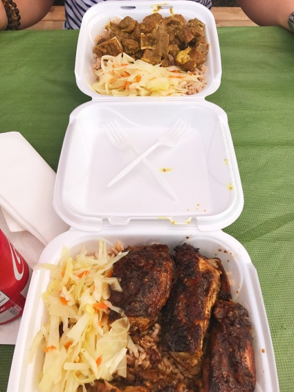 Curry goat (above) and jerk chicken (below) from Maxine's Kitchen
