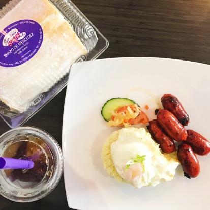 Longsilog (Filipino sausage, fried rice, and fried egg) breakfast from Somethin' 4 U
